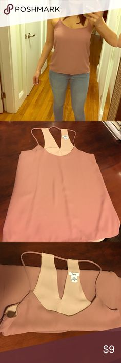 Cute Reversible Racerback Dressy Tank Mauve on one side and soft pink on the other. Once you remove the tag it can be reversible. Bar III Tops