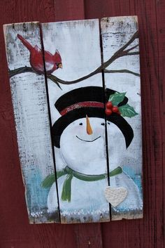 Snowman and cardinal sweet reclaimed wood signEach sweet Snowman and Cardinal wood sign is individually hand painted with love. Handmade ceramic pieces and vintage glass glitter are added to give a sparkle of holiday magic.Arts And Crafts Activities Blue Christmas Decor, Christmas Wood Crafts, Snowman Crafts, Christmas Signs, Diy Christmas Ornaments, Christmas Art, Christmas Projects, Winter Christmas, Holiday Crafts