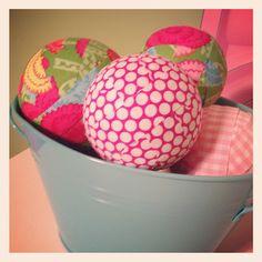 Make fun fabric balls with scraps - selvage, anyone?