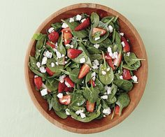 Strawberry and Spinach Salad with Herbs and Goat Cheese by Fine Cooking