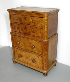 c.1850 Miniature Birdseye Maple Chest of Drawers - Apprentice or Salesman Sample #Victorian