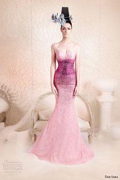 dar sara 2014 couture degrade ombre purple pink dress