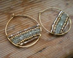 Aquamarine hoop earrings // aquamarine jewelry // brass hoops