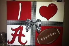 I ❤ Alabama Football Painted on canvas