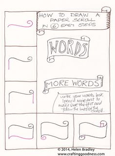 Draw a word scroll banner step by step learn to draw