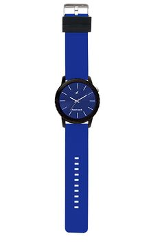 Part of Tees' first colours collection, this large oversized watch pairs a black case with a blue dial and blue straps. The loops are in black to further enhance the look of the watch.