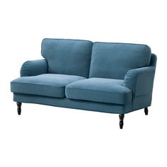 IKEA STOCKSUND sofa Tallmyra blue/light brown/wood You get extra soft comfort and support because the thick cushion has a core of pocket springs and a top of cut foam and polyester fibres. Söderhamn Sofa, Sofa Legs, Ikea Couch, Daybed, Brown Wood, Black Wood, Stocksund Sofa
