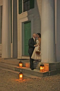 Old Sturbridge Village Wedding ~ Center Meetinghouse, Country Romance ~ Ceremony ~ Candles ~ Green & White ~ LOVE