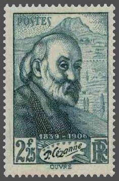 timbres de france/timbre france 1939 - 0421 - portrait a l effigie de Paul Cezanne devant la montagne Sainte-Victoire pour le centenaire de la naissance du peintre en 1839.jpg
