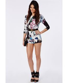 Gee Scuba Graphic Floral Printed Playsuit Multi - Playsuits - Missguided
