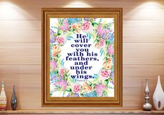 Hey, I found this really awesome Etsy listing at https://www.etsy.com/listing/460845760/he-will-cover-psalm-914-feather-wall-art