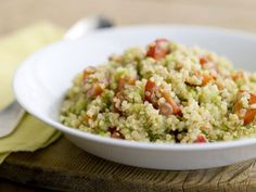 Quinoa Salad with Tomatoes, Cucumbers, Bell Peppers, and Arugula recipe