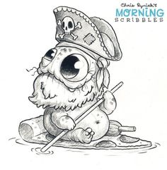 Adorable pirate pizza monster