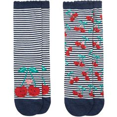 Accessorize Happy Cherries 2 Pack Socks ($12) ❤ liked on Polyvore featuring intimates, hosiery, socks, ankle socks, striped socks, short socks, tennis socks and striped ankle socks