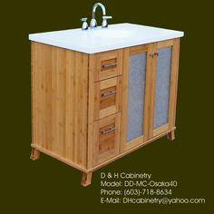 40 Modern / Contemporary Bamboo Bathroom Vanity  by DandHCabinetry, $1250.00