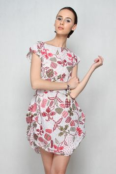 Ellena Batik Dress WhiteMaroon