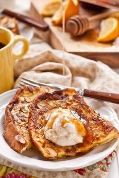 Almond Crusted French Toast with Honey and Ricotta is a lovely breakfast.