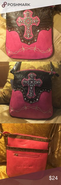 "Hot Pink and Brown Handbag Cute Crossbody Bag is 10""X12"" with a 48"" strap. The Brown is embossed to look like tooled leather. Zipper pocket outside on backside and inside one zippered and 2 open pockets. Bags Crossbody Bags"