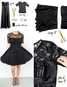 DIY Tutorials: How to Renew the Old Clothes - Pretty Designs. Love the Lace on top to spice up a black dress Diy Dress, Lace Dress, Strapless Dress, Refashion Dress, Gown Dress, Cheap Dress, Shirt Dress, Dress Ideas, Old Clothes