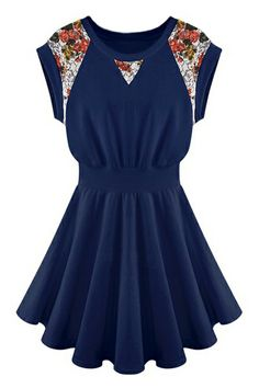 ROMWE | ROMWE Lace Floral Pleated Navy Dress, The Latest Street Fashion