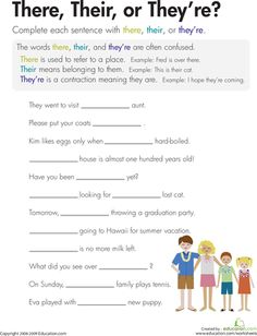 Worksheets: There, Their, or They're? I must use this for my students!