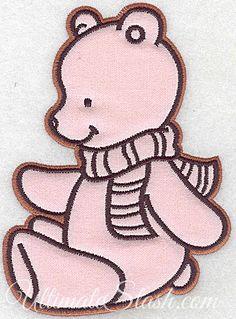 Bear wearing scarf applique
