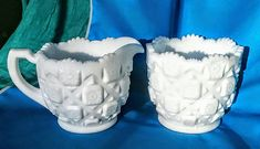 Westmoreland Milk Glass Sugar and Creamer Set - Old Quilt Pattern Milk Glass Candy Dish, Glass Fruit Bowl, Westmoreland Glass, Pink Depression Glass, Old Quilts, Quilting For Beginners, Fenton Glass, Quilt Patterns Free, Carnival Glass