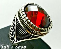 Men's Ring Turkish Ottoman Style Jewelry 925 Sterling by IdilsShop, $125.00