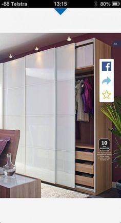Bedroom Closet Ideas With Sliding Doors Ikea Pax 24 Ideas - Schlafzimmer Ikea Wardrobe Design, Ikea White Wardrobe, Sliding Door Wardrobe Designs, Ikea Pax Wardrobe, Bedroom Closet Design, Ikea Bedroom, Bedroom Wardrobe, Closet Designs, White Sliding Door Wardrobe