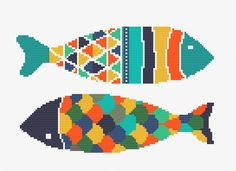 Two Fishes Cross Stitch Pattern PDF by cinnamonstitches123 on Etsy