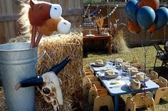 Seriously gorgeous blue and natural Cowboy party by A Reason to Get Together. The details are amazing! Lots of good ideas. Cowboy Theme Party, Cowboy Birthday Party, First Birthday Party Themes, Horse Party, Birthday Ideas, 4th Birthday, Rodeo Party, Rodeo Birthday, Pirate Party