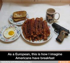 This IS how Americans have their breakfast.<<<< well, there is a little more bacon.