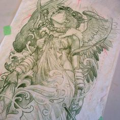 Valkyrie back piece by James Tex @jamestex photo on Instagram.  Can't wait to see this inked.