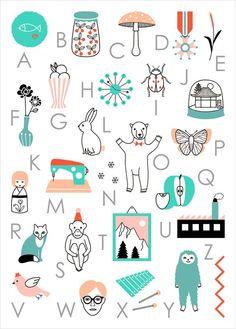 Abécédaire, Audrey Jeanne - abecedaire poster enfant - L'Affiche Moderne