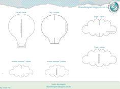 Mobile de encaixe (nuvens e balão) - feltro  