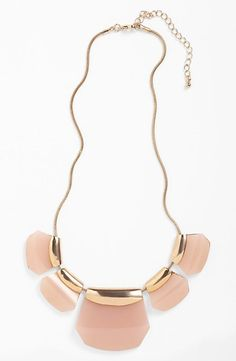 Pale pink stone statement necklace.