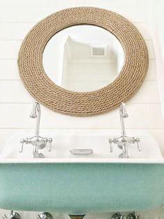 Rope Mirror. Bathroom Rope Mirror. The rope mirror is from Birch Lane. #RopeMirror Amy Studebaker Design