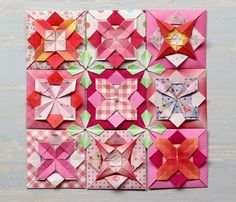 『東京コンベンションで講習します!』 Origami Wall Art, Origami Quilt, Origami And Kirigami, Origami Rose, Fabric Origami, Origami Paper, Oragami, Paper Quilt, Bookmark Craft