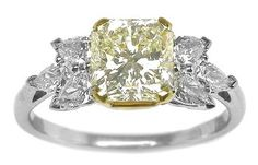 Radiant Cut Diamond 18k Yellow & White Gold Engagement Ring (My most favorite one. It's so beautiful. Definitely different and just STUNNING!!!