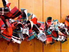 Tartan Garland Plaid Garland Rag Tie Red Green by SeacliffeCottage