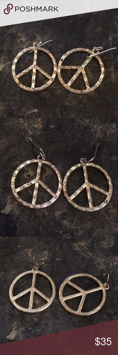 Hammered Gold Peace ✌️ Earrings Beautiful Hammered Gold Earrings with studs Jewelry Earrings