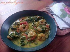 Spicy prawns with spinach / Aromatyczne krewetki ze szpinakiem