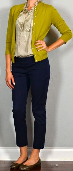 87a0a571193b3 Guest outfit post – sister week: mustard cardigan, ruffle blouse, crop  pant, brown flats