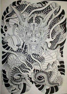 Japanese Dragon Tattoos, Japanese Drawings, Japanese Tattoo Designs, Japanese Tattoo Art, Japanese Sleeve Tattoos, Dragon Head Tattoo, Dragon Tattoo Designs, Backpiece Tattoo, Yakuza Tattoo