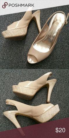 Nude Sling Backs Nude Patent Leather Sling Backs without Covered Heel and Platform Shoes Platforms