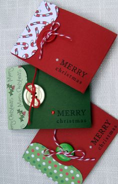 Portadores artesanais de Cartão de Presente de Natal Conjunto de 3 POR foryoumarilyn