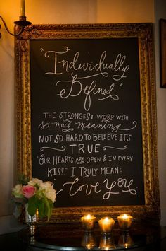 LOVE this Wedding Day chalkboard sign seen on Desiree Hartsock - Wedding Blog from her engagment party.