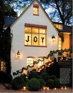 Christmas words in windows... :-) Perfect hanging on rod in hallway/stairway window
