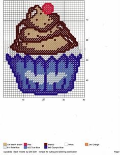 Plastic Canvas Coasters, Plastic Canvas Crafts, Plastic Canvas Patterns, Cross Stitch Embroidery, Cross Stitch Patterns, Cupcake Cross Stitch, Blue Cupcakes, Stitch Cartoon, Diy Christmas Ornaments