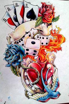 See more ideas about gambling tattoos, poker tattoo and tattoo Graffiti Art, Tattoo Drawings, Art Drawings, Desenho New School, Desenhos Old School, Card Tattoo Designs, Urban Tattoos, Poker Tattoo, Lucky Art